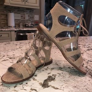 Vince Camuto tan lace up sandals